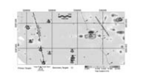 Figure 3: Interpretation of data products overlaid on grayscale total gradient map. Primary target depth estimates (see triangle symbols) obtained from Euler Deconvolution of the measured gradients. Total gradient grid values of the target position provide an estimate of the relative target.